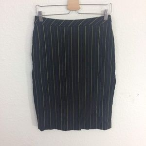 Yoana Baraschi Black Green Striped Pencil Skirt